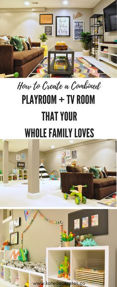 SO many good ideas here for creating a shared playroom and TV room! This is awesome -- a great blueprint to create a space that the whole family will love.