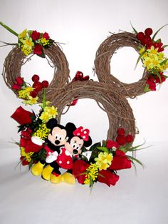 Mickey wreath idea with different flowers...this has teacher Beth written all over it.