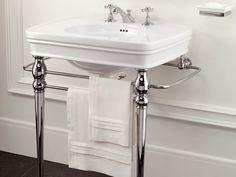 Console washbasin with towel rail Rose Collection by Devon Vintage Bathroom Sinks, Bathroom Basin, Downstairs Bathroom, Bathroom Ideas, Bath Ideas, Bathroom Furniture, Bathroom Inspiration, Design Inspiration, Serviettes Roses