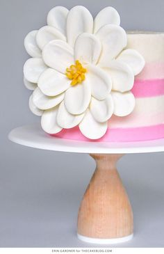 White Chocolate Flower Cake – how to make a side chocolate flower cake, using candy melts and everyday tools   by Erin Gardner for TheCakeBlog.com