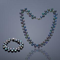 Perlový set Button (perlový náhrdelník a náramek) – černá