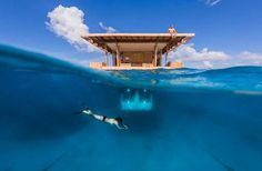 The Underwater Room is just what it sounds like: a hotel room that's submerged in the clear blue ocean. hotel in Pemba, Zanzibar - The Manta Resort - The Underwater Room Under The Water, Hotel Subaquático, Hotel Suites, Hotel Stay, Hotel Deals, Underwater Hotel Room, Ocean Underwater, Hotel Original, Oh The Places You'll Go