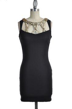 X Marks the Spot Open Back Dress - Black + Gold