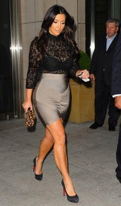 Kim Kardashian's Lacey Top and Pencil Skirt