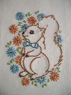 New Embroidery Floral Patterns Tea Towels Ideas Baby Embroidery, Flower Embroidery Designs, Hand Embroidery Patterns, Vintage Embroidery, Ribbon Embroidery, Cross Stitch Embroidery, Machine Embroidery Designs, Patterned Tea Towels, Crazy Quilt Stitches
