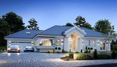 Projekt domu parterowego Willa Parkowa 6 o pow. 207,29 m2 z obszernym garażem, z dachem wielospadowym, z tarasem, z antresolą, sprawdź! Modern Bungalow Exterior, Classic House Exterior, Modern House Facades, Modern Bungalow House, Village House Design, Kerala House Design, Bungalow House Design, House Plans Mansion, My House Plans