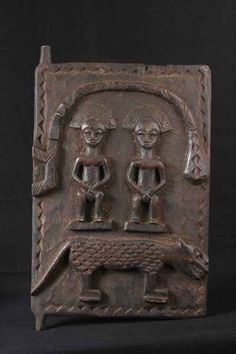 Africa | Granery door from the Baoule people of the Ivory Coast | Carved wood