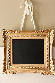 Goodwill frame painted gold, flipped the canvas and painted with chalkboard paint for msg board.