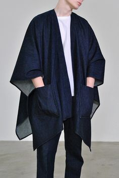 Denim Poncho by Sunnei Look Kimono, African Clothing For Men, Mode Jeans, Minimal Fashion, Denim Fashion, Asian Fashion, Normcore, Menswear, My Style