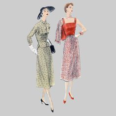 1953 Skirt Jacket Bodice top Sewing Pattern Vogue by knightcloth 3 piece ensemble. Nice lines no bulky folds and gathers.