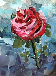 Single Rose Torn Paper Collage by robbinsart on Etsy, $75.00