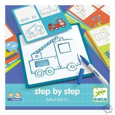 Hoe teken je eigenlijk een vliegtuig of een brandweerauto? Het franse merk Djeco heeft er wat op gevonden. Stap voor stap leer je te tekenen dankzij de voorbeeld kaarten. Pak snel je tekenbord en je uitwisbare stift en ga aan de slag! Vanaf 3 jaar.