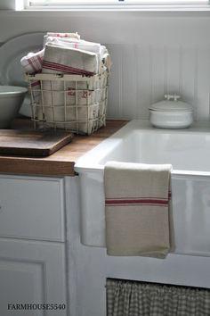 FARMHOUSE 5540 Ironstone,antique basket,curtain on sink