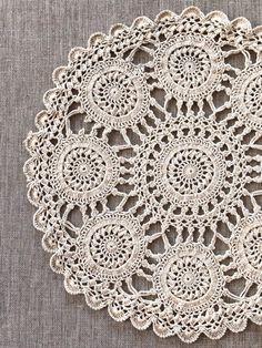 Vintage Crochet Doily round ecru cotton doily vintage | Etsy