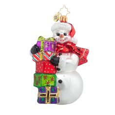 Christopher Radko Festive and Frosty Christmas Ornament Blown Glass Christmas Ornaments, Hand Painted Ornaments, Snowman Ornaments, Christmas Candy, Christmas Snowman, Holiday Ornaments, Snowmen, Christmas Trees, Classic Christmas Decorations