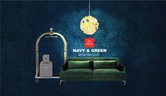 Σμαραγδί, μπλέ και χρυσό η απόλυτη τάση διακοσμησης για το φετινό χειμώνα. Δειτε τις προτάσεις μας σε έπιπλα και διακοσμητικά που θα μεταμορφώσουν το χώρο σας Navy And Green, Sofa, Interior Design, Furniture, Home Decor, Nest Design, Settee, Decoration Home, Home Interior Design