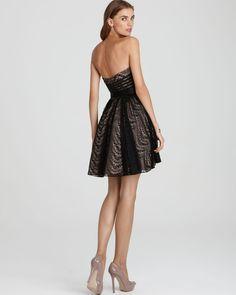 Aidan Mattox Lace Strapless Dress