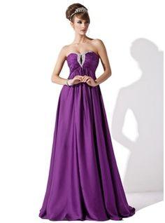 Empire-Linie Herzausschnitt Bodenlang Chiffon Abendkleid mit Rüschen Perlen verziert