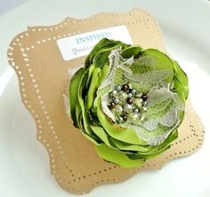 Chartreuse Green Brooch Fabric Flower by InspiredGreetingsAD, $13.00