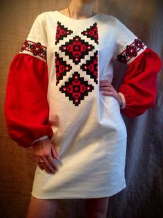 ukrainian embroidered dress vyshyvanka national gown ethnic Vita Kin style