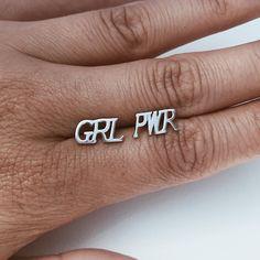 GRL PWR Girl Power Stud Earrings Silver Minimalism Scandinavian Design – NILERES DESIGN