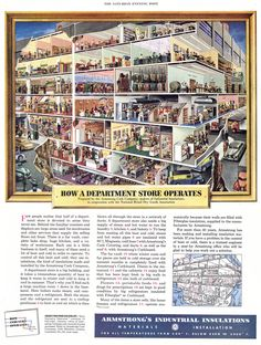 How a department store operates - the lost art of the cutaway illustration Saturday Evening Post, Wow Art, Vintage Ads, Vintage Stores, Vintage Labels, Vintage Stuff, Vintage Travel, Vintage Advertisements, Shop Interiors