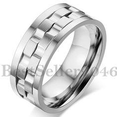 Edelstahl Ring Bandring Silber Gravierte Gravur Welle Drehbar Charm Herren Neu