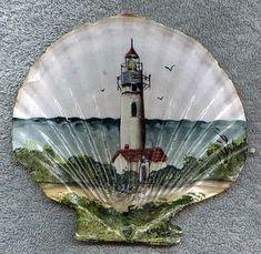 Sandy Knodel artwork - seashell with yaquina lighthouse painted on it - Seashell Painting, Seashell Art, Seashell Crafts, Tole Painting, Seashell Projects, Painting On Shells, Driftwood Projects, Driftwood Art, Painted Sand Dollars