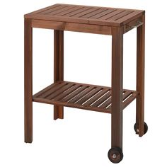 ÄPPLARÖ / KLASEN Charcoal grill with cart & cabinet - brown stained, stainless steel color - IKEA Outdoor Shelves, Outdoor Storage, Serving Cart, Serving Plates, Bench With Storage, Storage Area, Extra Storage, Storage Benches, Wood Supply