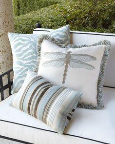 Elaine Smith Aqua Outdoor Pillows