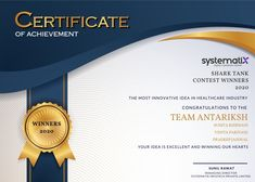 """We at Systematix promote innovation by providing a platform where new ideas get into incubation and are funded. Shark Tank Competition was one such global challenge that rewards people for their most innovative business ideas. We are so excited to announce that Team Antariksh won for presenting the """"The most innovative business idea in Healthcare Industry"""" Huge shout out to Sunita Kishnani, Pradeep Jaiswal, and Vinita Pariyani, for working so diligently for the past few weeks. Certificate Of Achievement, Business Innovation, Shark Tank, Shout Out, Business Ideas, Competition, Health Care, The Past, Challenges"""