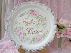 JOYFUL EASTER PLAQUE TRAY hp roses chic shabby vintage cottage hand painted art