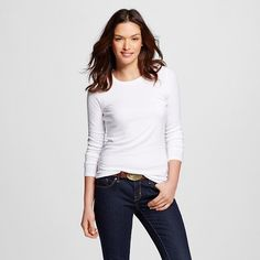 Women's Ultimate Long Sleeve Crew Tee Fresh White L - Merona™ : Target