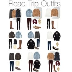 Fall Road Trip Outfits - 9 outfits from 5 tops, 3 bottoms, 2 outerwear, 3 shoes, 2 scarves