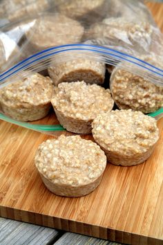"This Oatmeal Hack Will Change Your Mornings - Serving Size 3 ""muffins"" - Calories: 75; C 14g; F 1g; P 1.5g"