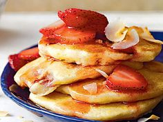 Toasted Coconut-Strawberry Pancakes