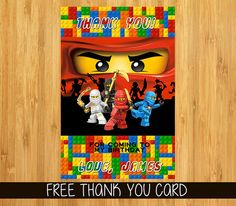 Lego Ninjago Invitation Lego Ninjago Party by MyFunPartyPrints