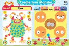 Moody Monster Manor - a free iPhone based app for feeling identification with monsters like Scared Sam or Confused Carl