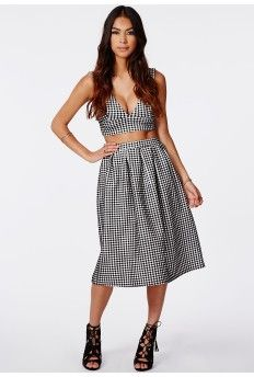 Helena Gingham Full Midi Skirt Black