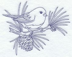 """Junco (Bluework) Product ID: D9629 Size: 6""""(w) x 4.85""""(h) (152.4 x 123.2 mm) Color Changes: 1 Stitches: 6058 Colors Used: 1"""