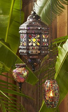 Experiment with the placement of a Mosaic Lantern or Colored Gems Hanging Lantern to customize the colors they cast on your surroundings