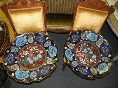 We sold an Exquisite and Rare Pair of Very Large Cloisonne Chargers.