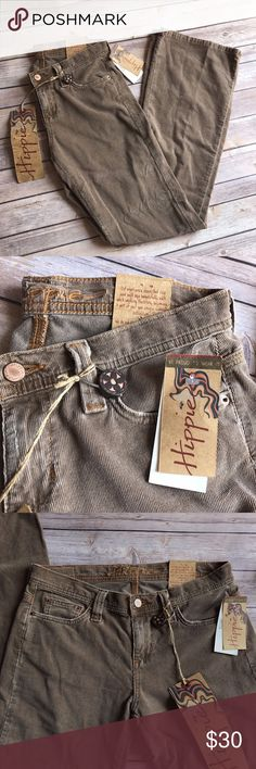 NWT Hippie Tan Corduroy size 9 Brown Flared Denim New with Tags! hippie Brand Tan corduroy denim. Size 9 (31 inch waist- 15.5 inches across laying flat)  33.5 inch inseam  18.5 inches across hip laying flat  widest part of flare leg measure 10 inches across laying flat Hippie Pants Boot Cut & Flare