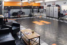 Harley-themed garage
