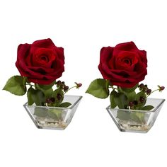 Rose with Square Vase Silk Flower