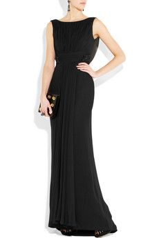 A little long black dress featuring the ever fabulous boat neck.