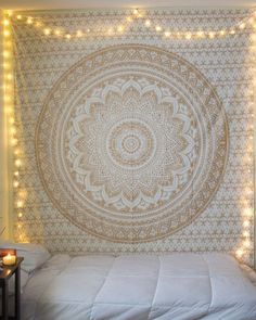 "Exclusive ""Twin Golden Ombre Tapestry by JaipurHandloom"" Ombre Bedding , Mandala Tapestry, Multi Color Indian Mandala…"