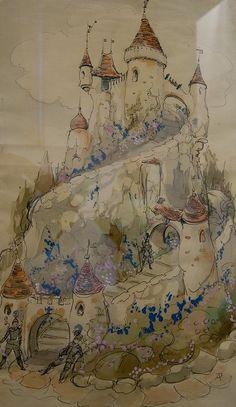 a fairy castle Fairytale Art, Fairytale Castle, Anton Pieck, Dutch Artists, Art Graphique, Children's Book Illustration, Graphic, Illustrators, Fantasy Art