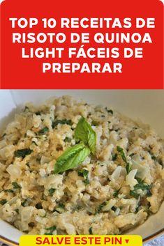 10 Receitas de Risoto de Quinoa Light A quinoa pode ser adicionada a diferentes receitas, pois tem um sabor neutro. Uma ideia saborosa de prepará-la é o risoto de quinoa light. #risotodequinoa #risoto #risotolight Risotto, Good Food, Low Carb, Rice, Drinks, Ethnic Recipes, Risotto Recipes, Vegetarian Recipes, Protein Sources