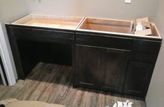 Custom vanity cabi Midnight black stain on Alder wood with satin lacquer finish Thompson